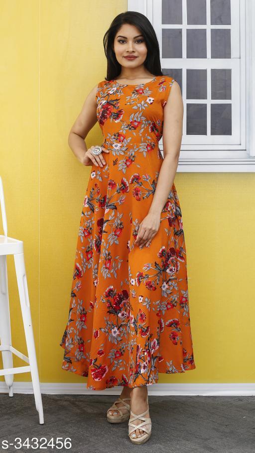 Women's Printed Mustard Poly Crepe Dress