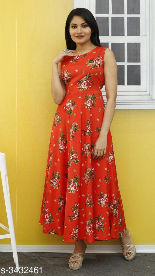 Women's Printed Orange Poly Crepe Dress