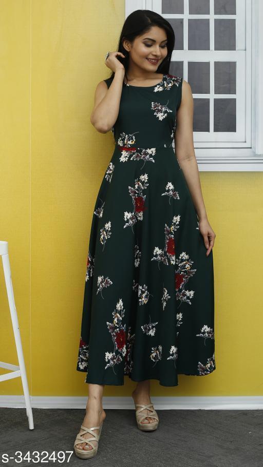 Women's Printed Green Poly Crepe Dress