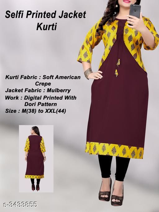 Kurtis & Kurtas Pretty Heavy American Crepe Women's Kurti  *Fabric* Kurti - Heavy American Crepe, Jacket - Mulberry Cotton  *Sleeves* Sleeves Are Included  *Size* Kurti - M - 38 in, L  - 40 in, XL - 42 in, XXL - 44 in  *Length* Kurti - Up To 46 in  *Type* Stitched  *Description* It Has 1 Piece Of Women's Kurti With Attached Jacket  *Work* Kurti - Border Work  *Sizes Available* M, L, XL, XXL   Supplier Rating: ★3.8 (203) SKU: 1013(1) Shipping charges: Rs1 (Non-refundable) Pkt. Weight Range: 500  Catalog Name: Vedika Pretty Heavy American Crepe Women's Kurtis Vol 2 - Saiveeha Fashion Code: 883-3433855--334