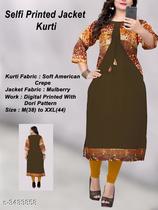 Kurtis & Kurtas Pretty Heavy American Crepe Women's Kurti  *Fabric* Kurti - Heavy American Crepe, Jacket - Mulberry Cotton  *Sleeves* Sleeves Are Included  *Size* Kurti - M - 38 in, L  - 40 in, XL - 42 in, XXL - 44 in  *Length* Kurti - Up To 46 in  *Type* Stitched  *Description* It Has 1 Piece Of Women's Kurti With Attached Jacket  *Work* Kurti - Border Work  *Sizes Available* M, L, XL, XXL   Supplier Rating: ★3.8 (203) SKU: 1016(1) Shipping charges: Rs1 (Non-refundable) Pkt. Weight Range: 500  Catalog Name: Vedika Pretty Heavy American Crepe Women's Kurtis Vol 2 - Saiveeha Fashion Code: 883-3433858--334