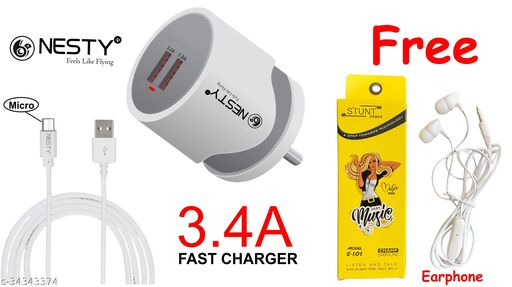 Mobile charger 3.4amp with 2 usb hub fast charger oppo charger vivo charger mi charger samsung charger realme charger nokia charger free earphone