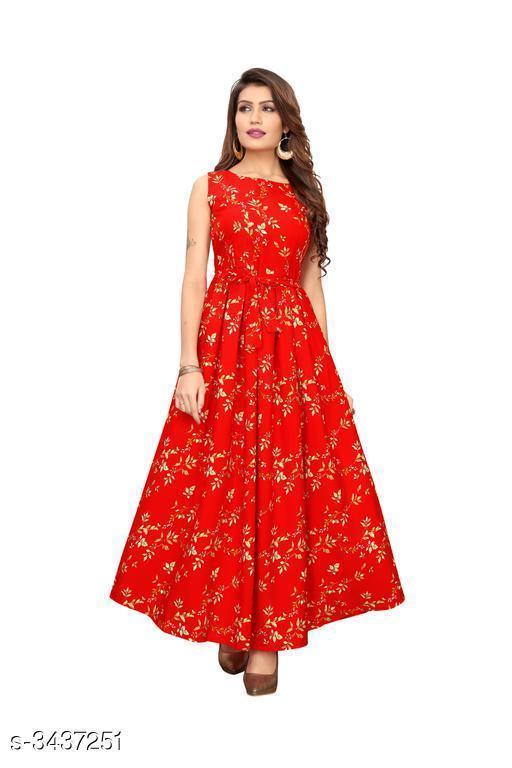 Printed Red Maxi Crepe Dress