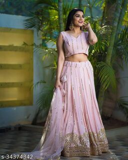 PINK Partywear Embroiderd Georgette lehenga fabric with blouse and Dupatta Lehenga choli - LC 23
