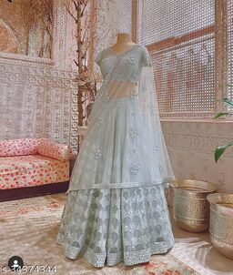 Grey Designer Partywear Embroiderd Malay satin Lehenga Material With Net dupatta and Blouce Piece - LC 27