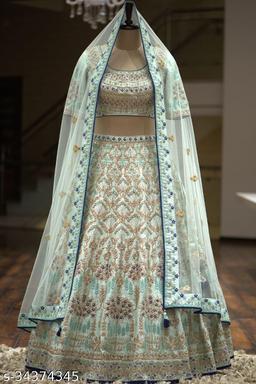 Brand new multicolor partwear Embroidered work malay satin Lehenga choli - LC 21