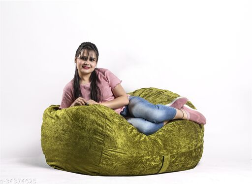 InkCraft 4FT Velvet Bean Bag Cover Only (Without Beans)-Brown