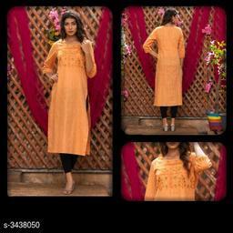 Women Cotton Linen A-line Embroidered Orange Kurti