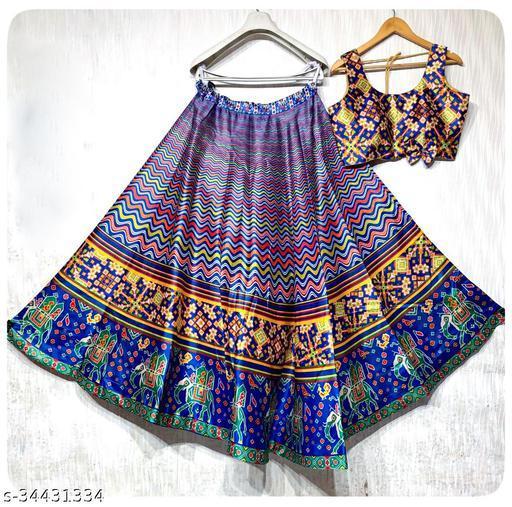 Patola Silk Designer Blue And Blue Half N Half  Stitched Lehenga Choli