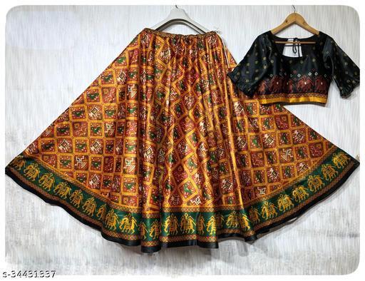 Patola Silk Designer Dark Orange Half N Half  Stitched Lehenga Choli