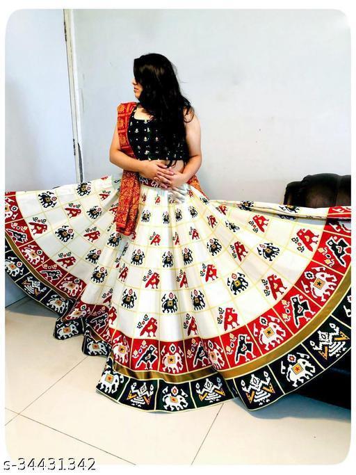 Patola Silk Designer Green And White Half N Half  Stitched Lehenga Choli