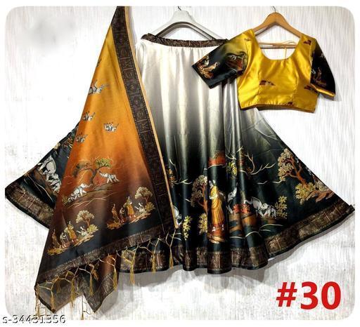 Patola Silk Designer Yellow And Lite BLACK Half N Half  Stitched Lehenga Choli