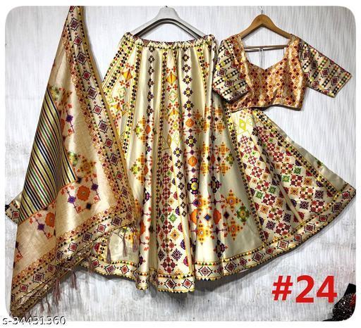 Patola Silk Designer OFF WHITE And Lite Orange Half N Half  Stitched Lehenga Choli