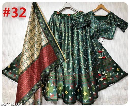 Patola Silk Designer GREEN And Lite MAROON Half N Half  Stitched Lehenga Choli