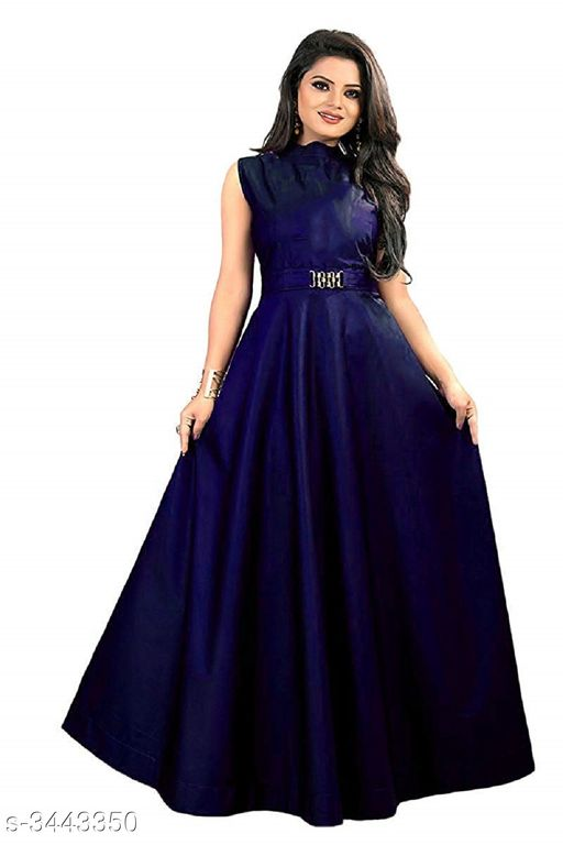 Solid Navy Blue Maxi Dress