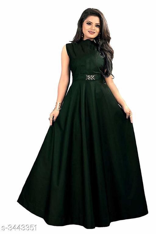 Solid Green Maxi Satin Dress