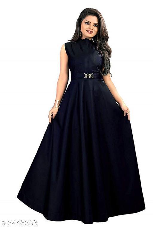 Solid Navy Blue Maxi Satin Dress