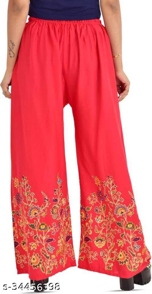 Regular Fit Relaxed Women Red Cotton Blend Palazzos
