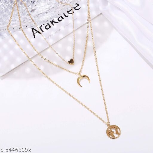 Arzonai Fashion Latest Multilayer Western Neckpiece Neck Chain Necklace for Women and Girls, Golden