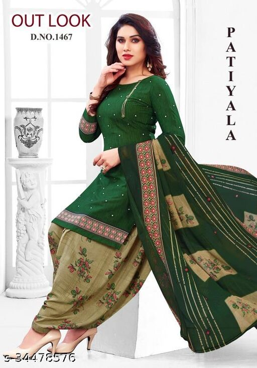 Anny Deziner Women's Green Creape Printed Unstitched Salwar Suit Material