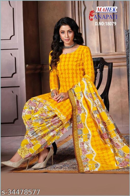 Anny Deziner Women's Yellow Creape Printed Unstitched Salwar Suit Material
