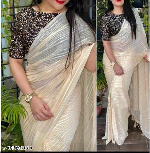new fancy weight less jari saree cream*