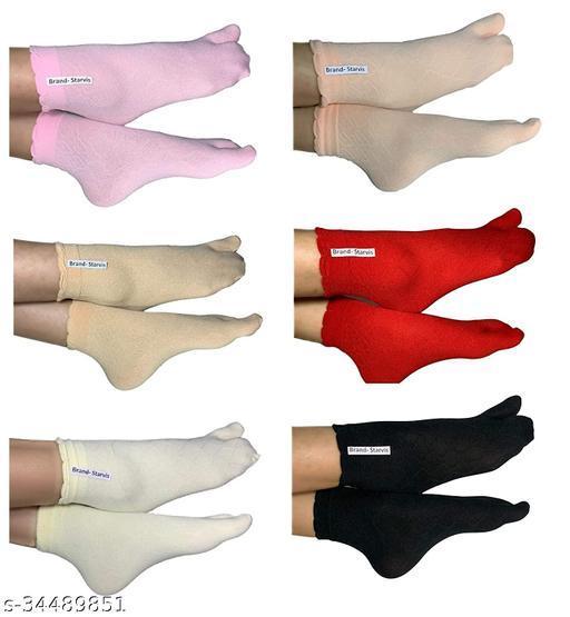 Starvis Ankle Length Nylon Socks With Thumb For Girls/Women (Pack of 6, Multicolor)