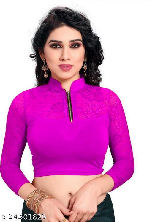 YOELLA Girl's & Women's Cotton Lycra Readymade Lace Net Long Sleeve Back Pack Blouse