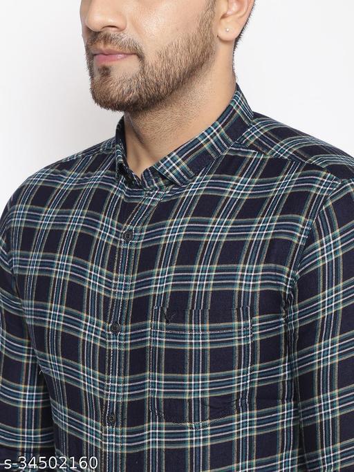 SHOWOFF Men's  Cotton  Navy Printed Slim Fit Shirt