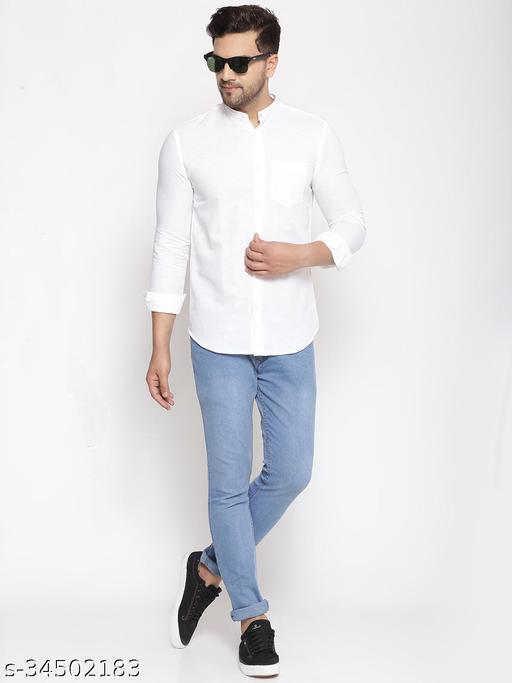 Men's  Linen  White Plain Slim Fit Shirt