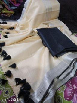 Trendy linen slub Tassel Work Women's Sarees