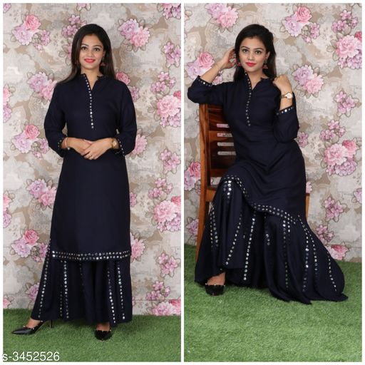 Kurta Sets Attractive Rayon Women's Kurta Set  *Fabric* Kurti - Rayon, Sharara - Rayon  *Sleeves* Sleeves Are Included  *Size* Kurti - 42 in, 44 in, Sharara - 34 in, 36 in  *Length* Kurti - Up To 46 in, Palazzo - Up To 40in  *Type* Stitched  *Description* It Has 1 Piece Of Women's Kurti & 1 Piece Of Sharara  *Work * Kurti - Mirror Work, Sharara - Mirror Work  *Sizes Available* 42, 44   Catalog Rating: ★4.4 (17) Supplier Rating: ★4 (129) SKU: ARWKS-02 Shipping charges: Rs1 (Non-refundable) Pkt. Weight Range: 500  Catalog Name: Anshu Attractive Rayon Women's Kurta Sets Vol 17 - Sabse acche suits Code: 2411-3452526--0531