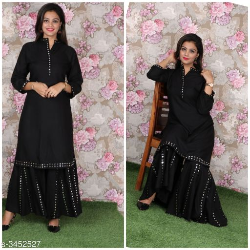 Kurta Sets Attractive Rayon Women's Kurta Set  *Fabric* Kurti - Rayon, Sharara - Rayon  *Sleeves* Sleeves Are Included  *Size* Kurti - 42 in, 44 in, Sharara - 34 in, 36 in  *Length* Kurti - Up To 46 in, Palazzo - Up To 40in  *Type* Stitched  *Description* It Has 1 Piece Of Women's Kurti & 1 Piece Of Sharara  *Work * Kurti - Mirror Work, Sharara - Mirror Work  *Sizes Available* 42, 44   Catalog Rating: ★4.4 (17) Supplier Rating: ★4 (129) SKU: ARWKS-03 Shipping charges: Rs1 (Non-refundable) Pkt. Weight Range: 500  Catalog Name: Anshu Attractive Rayon Women's Kurta Sets Vol 17 - Sabse acche suits Code: 2411-3452527--0531