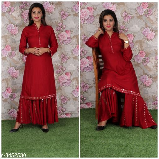 Kurta Sets Attractive Rayon Women's Kurta Set  *Fabric* Kurti - Rayon, Sharara - Rayon  *Sleeves* Sleeves Are Included  *Size* Kurti - 42 in, 44 in, Sharara - 34 in, 36 in  *Length* Kurti - Up To 46 in, Palazzo - Up To 40in  *Type* Stitched  *Description* It Has 1 Piece Of Women's Kurti & 1 Piece Of Sharara  *Work * Kurti - Mirror Work, Sharara - Mirror Work  *Sizes Available* 42, 44   Catalog Rating: ★4.4 (17) Supplier Rating: ★4 (129) SKU: ARWKS-04 Shipping charges: Rs1 (Non-refundable) Pkt. Weight Range: 500  Catalog Name: Anshu Attractive Rayon Women's Kurta Sets Vol 17 - Sabse acche suits Code: 2411-3452530--0531