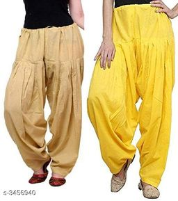 Ladies Cotton Women's Semi Patiala Salwars Combo (Pack Of 2)