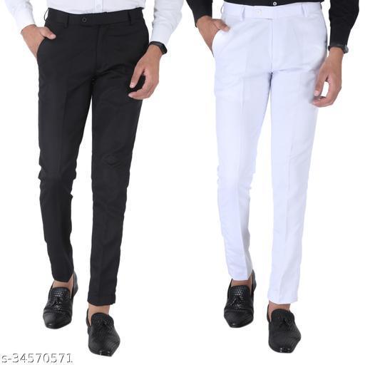 SREY Black and White Combo Slim Fit Formal Trouser For Men