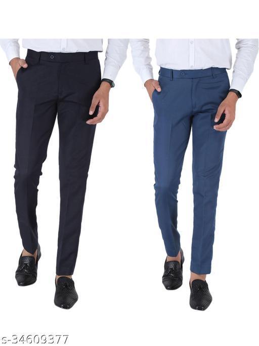 SREY Dark navy Blue and Airforce Blue Combo Slim Fit Formal Trouser For Men