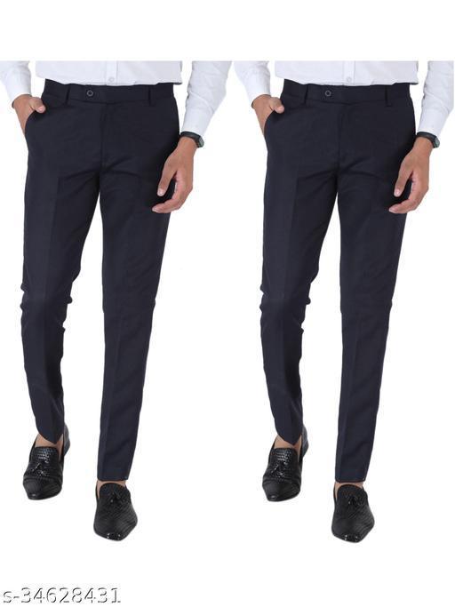 SREY Dark navy Blue and Dark navy Blue Combo Slim Fit Formal Trouser For Men