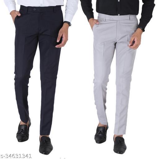 SREY Dark navy Blue and Grey Combo Slim Fit Formal Trouser For Men