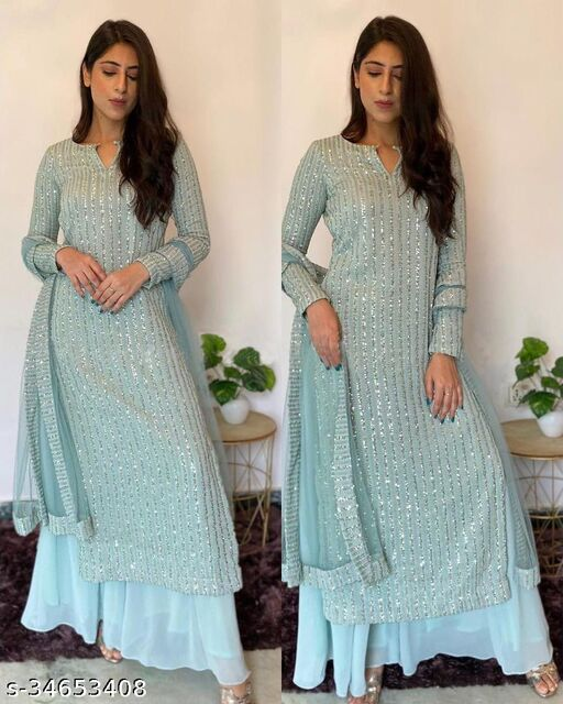 Krishna Tex Skyblue Fox Georgette with sequence Embroidered work Palazzo Suit