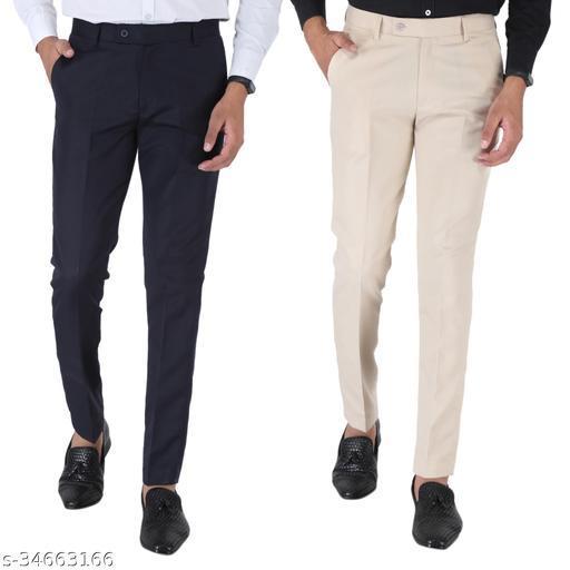SREY Dark navy Blue and Cream Combo Slim Fit Formal Trouser For Men