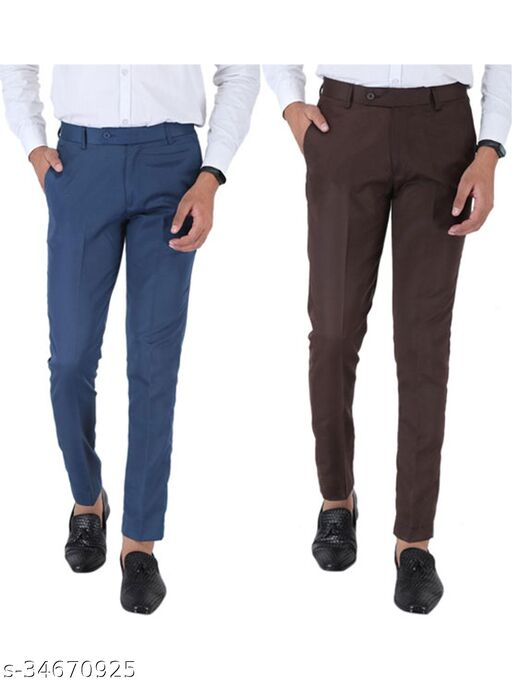 SREY Airforce Blue and Coffee Combo Slim Fit Formal Trouser For Men