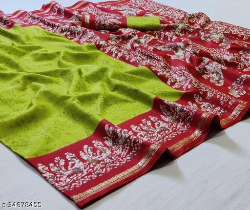 Mal Mal Cotton Silk With Batik Print And Viscose Zari Border Saree