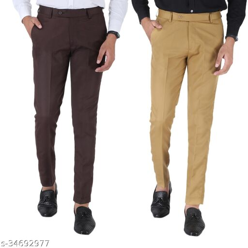 SREY Coffee And Khakhi trousers Combo Slim Fit Formal Trouser For Men
