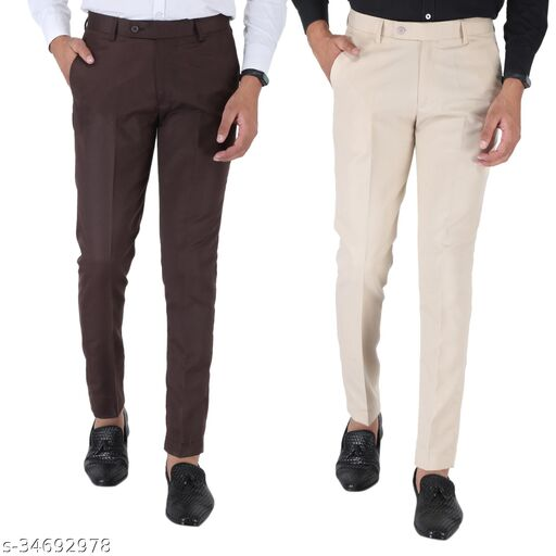 SREY Coffee And Light Cream trousers Combo Slim Fit Formal Trouser For Men