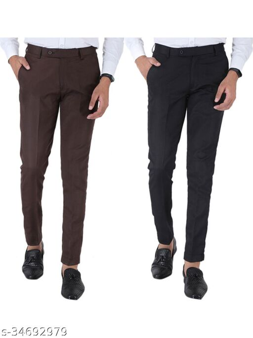 SREY Coffee and Black Combo Slim Fit Formal Trouser For Men