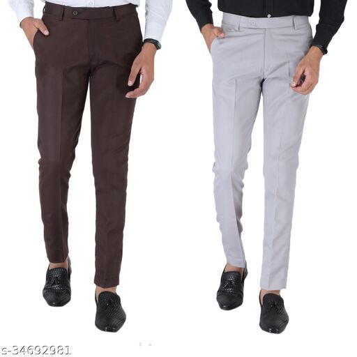 SREY Coffee And Olive Green trousers Combo Slim Fit Formal Trouser For Men