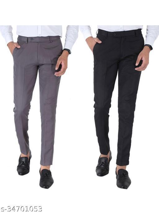 SREY Grey and Black Combo Slim Fit Formal Trouser For Men