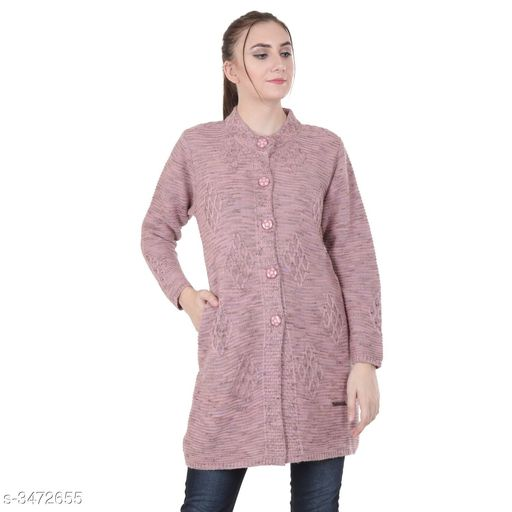 Cardigans Stylish Woolen Women's Cardigan  *Fabric* Woolen  *Sleeves* Full Sleeves Are Included  *Size* M - 38 in, L - 40 in, XL - 42 in, XXL - 44 in  *Length* Up To 32 in            *Type* Stitched  *Description* It Has 1 Piece Of Women's Cardigan  *Pattern* Solid  *Sizes Available* M, L, XL, XXL *   Catalog Rating: ★4.5 (27)  Catalog Name: Adeline Stylish Woolen Women's Cardigans Vol 3 CatalogID_483367 C79-SC1027 Code: 7041-3472655-