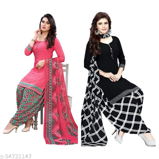 RS Fashion Of Printed Unstiched Crepe Dress Material (pack of 2)